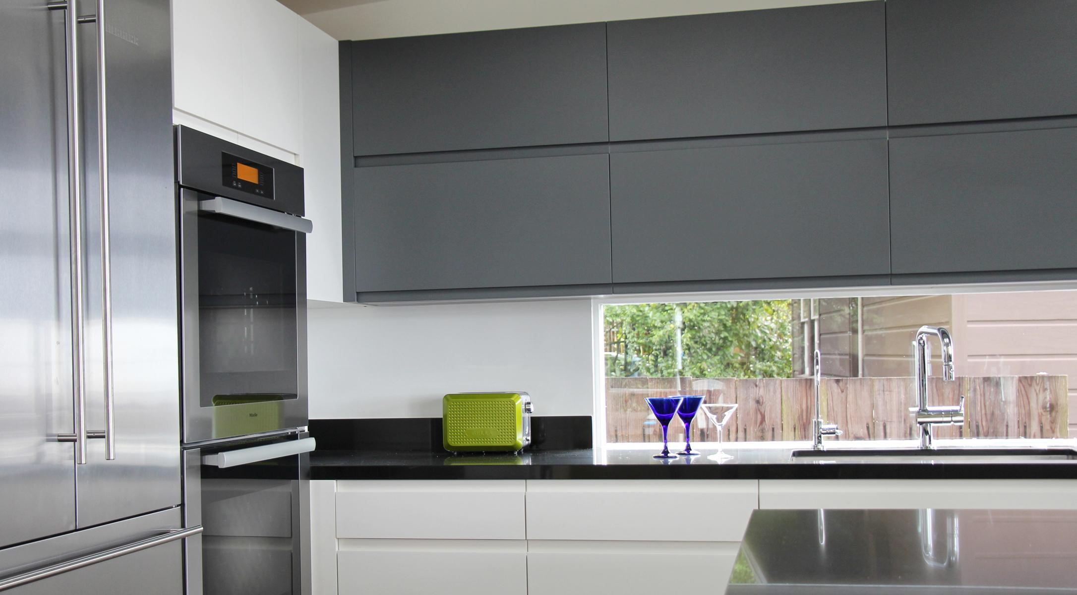 custom ikea painted fronts cabinets modern minimal contemporary integrated pulls dcabinets